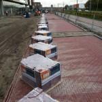 Paketten klaargezet tbv machinaal bestrating aanbrengen
